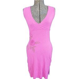 Guess Sleeveless Pink Sweater Dress Tie Back